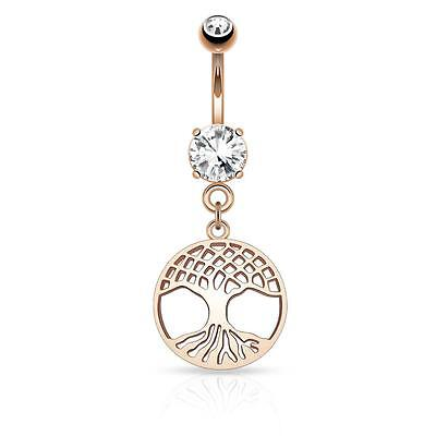 Round Tree of Life Belly Button Navel Ring Dangle Stainless Steel Barbell B527 Circular Barbell Belly Ring