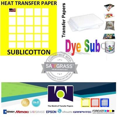 1 Combo 100 Sh Dye Sublimation Transfer Paper 100 Sh Sublicotton 8.5 X 11
