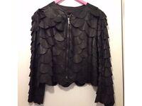 Emporio Armani women black leather jacket size 12