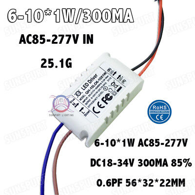 10pcs Ac85-277v 10w Led Driver 6-10x1w 300ma Dc18-34v Constant Current Powerfree