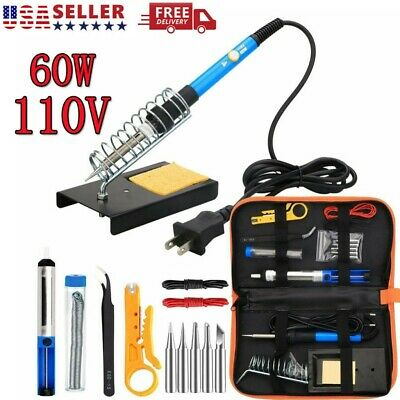 Soldering Iron Kit Electrical Welding Tool Gun Set Solder Station Tip Tweezer Us