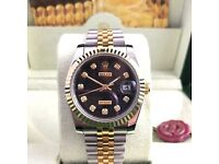 TwoTone with black face DateJust Rolex. Complete with Box, Bag & Paperwork