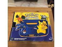 Nintendo 64 n64 pikachu console boxed