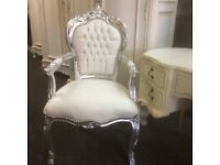 French style white faux leather chair