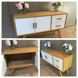 Wooden and white scandinavian sideboard