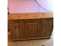 Pine Ikea, Bureau, sideboard and display cabinet.