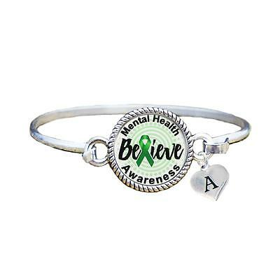 - Custom Mental Health Awareness Believe Silver Bracelet Jewelry Choose Initial