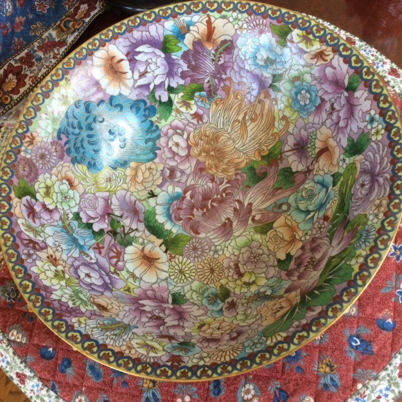 """antique large cloisonne bowl 15""""x4.5"""" floral blossom"""