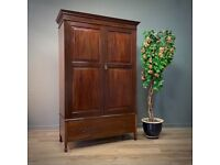 Attractive Antique Panelled Mahogany Double Wardrobe, Large Base Drawer