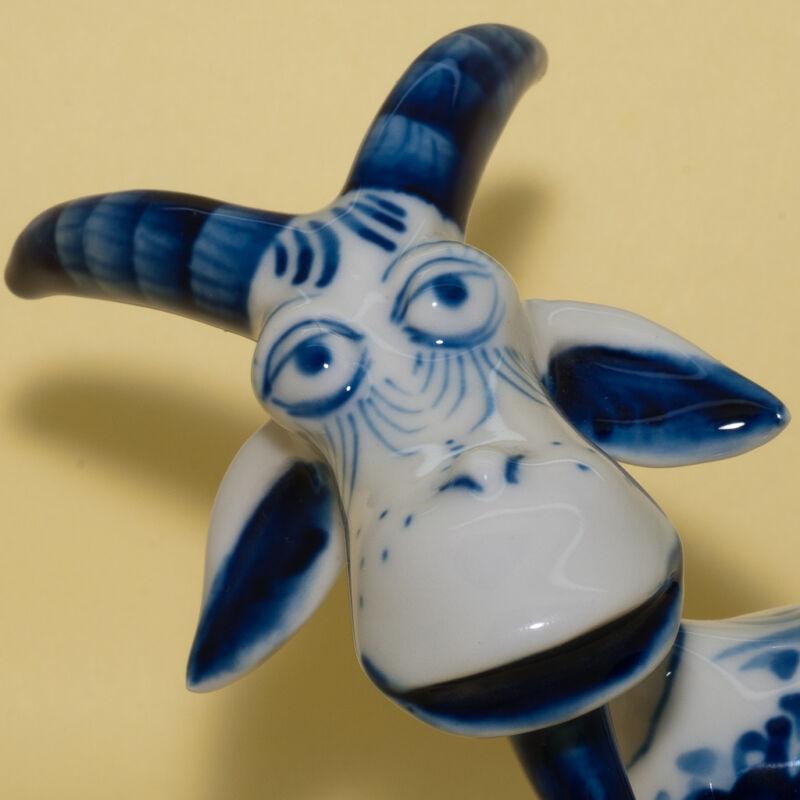 Figurine gzhel Goat painted in  porcelain handmade Russia