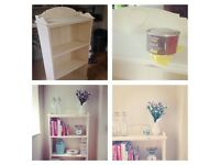 Shabby-chic chalk painted 'clotted cream' pine bookcase
