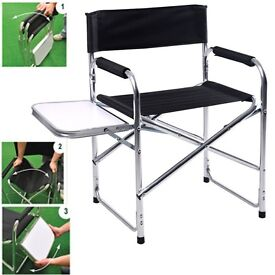 NEW ALUMINUM FOLDING DIRECTORS SIDE TABLE CHAIR CAMPING GARDEN TRAVELING BLACK
