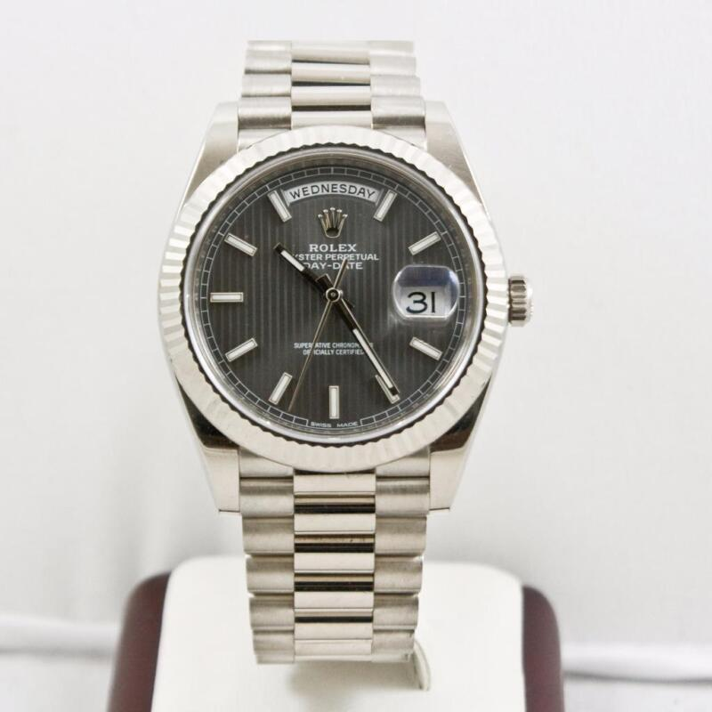 Rolex 40mm Day Date 228239 White Gold Rhodium Tapestry Dial Rolex Box & Booklets