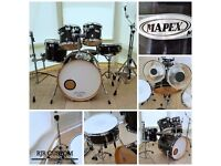 "Mapex ""M"" Series 5 Piece Drum Kit in Dark Green Wood effect Wrap with Hardware"