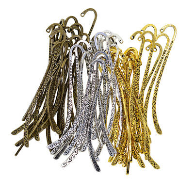 60pcs Vintage Line Metal Bookmark with Hook For Beading Jewelry Making Craft Beaded Charm Bookmark Craft