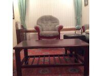 Living room unit (Morris of Glasgow) and coffee table, mahogany.