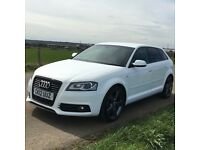 2012 AUDI A3 - S LINE - BLACK EDITION - WHITE FSH 80,000 TDI DIESEL MOT - £30 TAX A YEAR