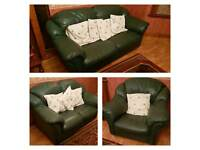 3 Piece Green Leather Sofa Set in good condition