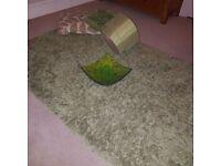 green rug, cushions and lampshade