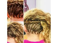 Mobile Afro and European hairdresser Cornrows, Box Braids and Twists