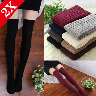Christmas Thigh High Socks (Lots Women Cable Knit Extra Long Boot Socks Over Knee Thigh High Warm)