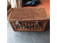 Wicker basket box storage or picnic basket