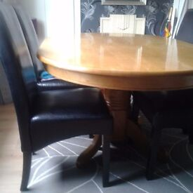 Dining Table & 4 leather chairs