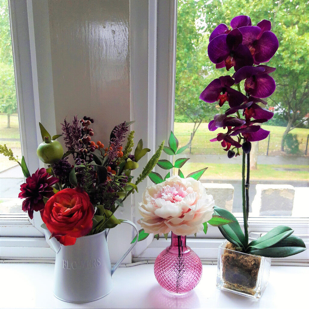 Beautiful Artificial Flowers Set Of 3 Excellent Quality In
