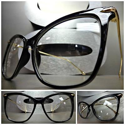 24dfa59ba88 CLASSIC VINTAGE RETRO CAT EYE Style Clear Lens EYE GLASSES Black   Gold  Frame