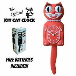 LIVING CORAL LADY KIT CAT CLOCK 15.5 Free Battery MADE IN USA Kit-Cat Klock New