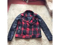 ladies size 10 tartan and leather look biker jacket
