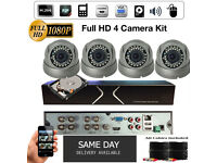 4 Camera Full HD 1080p CCTV Security Camera Full HD DVR + 4 x Full HD 1080p Cameras, 2TB Hard Drive