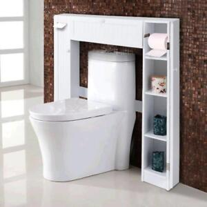 Wooden Over The Toilet Storage Cabinet Drop Door Spacesaver Bathroom White - BRAND NEW - FREE SHIPPING
