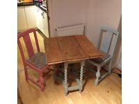 Solid wood Shabby Chic folding table and 2 chairs