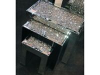 Mokka Crushed Diamond Nest Of Tables BRAND NEW