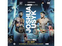 Anthony joshua vs usyk ticket 25th sept Heavyweight boxing Tottenham AJ