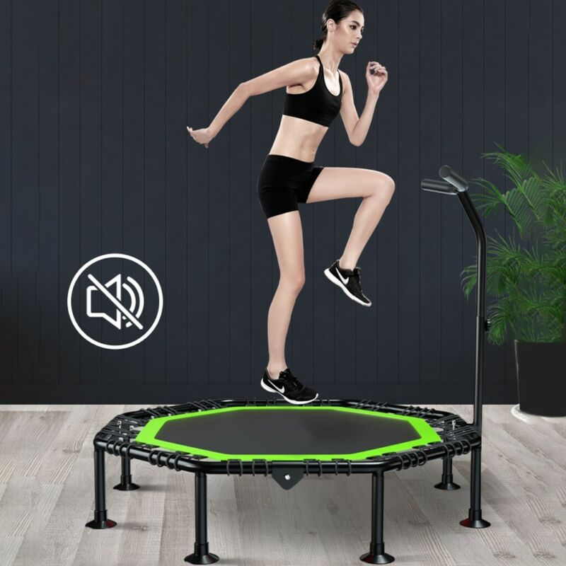 Mini Foldable Trampoline With Bar Cardio Fitness Bouncing Ex