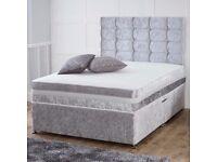 ❤💥🔥SAME DAY FAST DROP💥🔥💥New Double Crush Velvet Divan Bed+Deep Quilt Mattress, Drawers Optional
