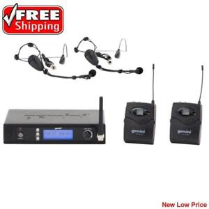 Gemini UHF6200HL UHF Dual Headset Lavalier Bodypack Wireless Microphone Multi-Channel