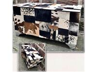 Cowhide leather storage ottoman