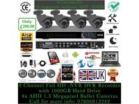 4 Cameras AHD CCTV KIT | AHD 1.3 Megapixel Cameras | 12 Months UK Warranty |