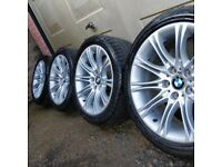 GENUINE BMW MV2 M-Sport ALLOY WHEELS WITH TYRES FOR E60/61 5 SERIES