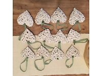 12 wicked hearts with olive green ribbon - ideal for wedding