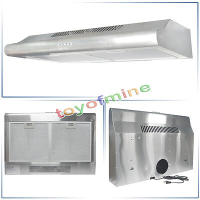 """Kitchen Stainless Steel 30"""" Glass Wall Mount Cooker Range Hood Stove Vents"""