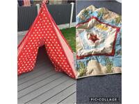 Star wigwam kids teepee and cushioned base