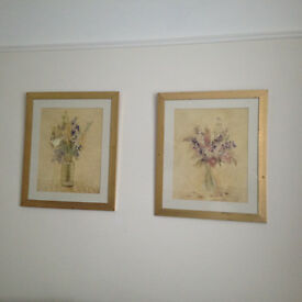 2 x gold framed flower pictures