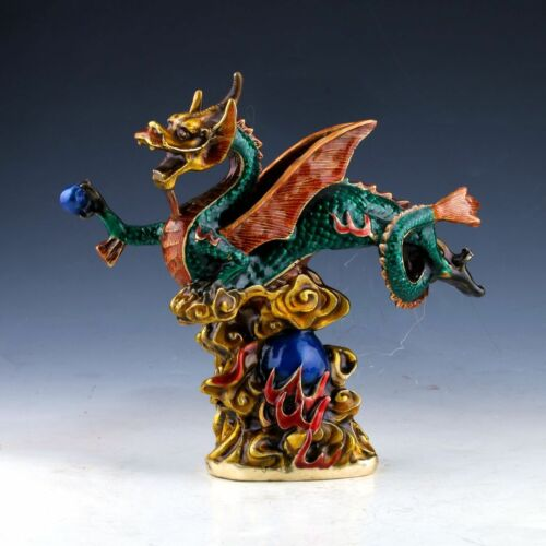 Chinese Cloisonne Handwork Carved Dragon Statue