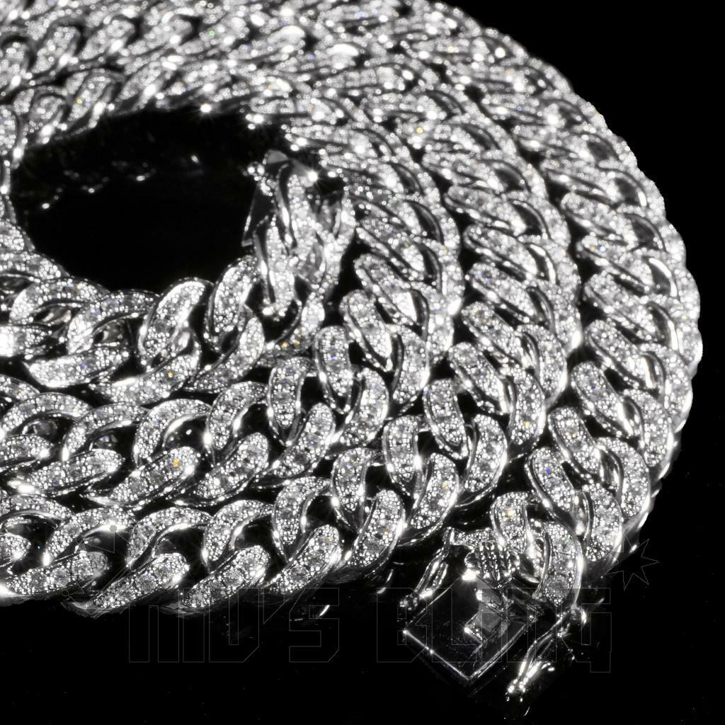 18K White Gold Bling Out Iced Lab Diamond CUBAN Miami Chain Link Mens Necklace