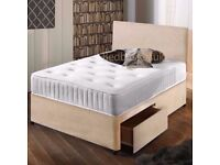 "Suede Divan Bed & 10"" Memory Foam Sprung Mattress Plus Headboard FREE DELIVERY"
