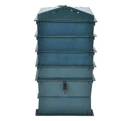 Stackable 4-Tray Wormery Worm Farm Factory Organic Composting Bin Garden Worms